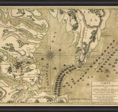 Antique Reproduction map of 1781 Yorktown Virginia by Spicher and Company at Creative Classics Furniture in Alexandria VA near Washington DC and Arlington VA