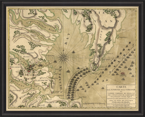 Antique Reproduction map of 1781 Yorktown Virginia by Spicher and Company at Creative Classics Furniture in Alexandria VA near Washington DC and Arlington VA