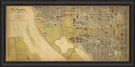 Antique Reproduction map of 1917 Washington D.C. Mall by Spicher and Company at Creative Classics Furniture in Alexandria VA near Washington DC and Arlington VA