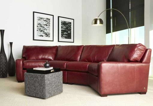 Living room scene of Carson Sectional in dark red leather by American Leather at Creative Classics Furniture in Alexandria VA near Arlington VA and Washington DC