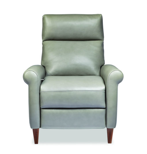 Front view of American Leather Adley Comfort Recliner in light green leather at Creative Classics Furniture in Alexandria VA near Washington DC and Arlington VA
