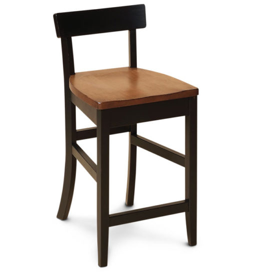 front view of solid wood Albany Small Scale Bar Stool with wood seat by Simply Amish Furniture at Creative Classics Furniture in Alexandria VA near Washington DC and Arlington VA