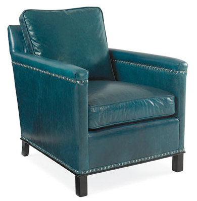 Gotham Club Chair in Teal Blue Leather with nailhead trim by CR Laine Furniture at Creative Classics Furniture in Alexandria VA near Arlington VA and Washington DC