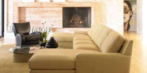 Living room scene with Lisben Sectional in leather by American Leather at Creative Classics Furniture in Alexandria VA near Arlington VA and Washington DC