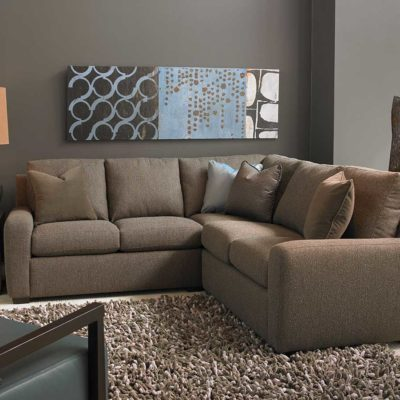 Living room scene with Lisben Sectional in brown fabric by American Leather at Creative Classics Furniture in Alexandria VA near Arlington VA and Washington DC