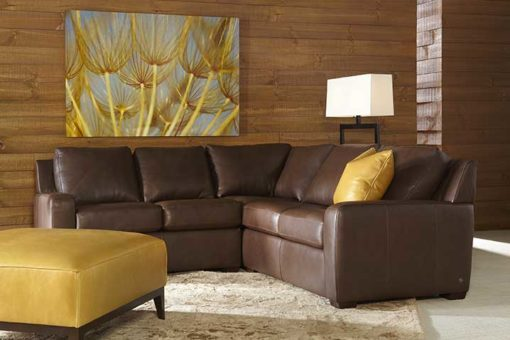 Living room scene with Lisben Sectional in brown leather by American Leather at Creative Classics Furniture in Alexandria VA near Arlington VA and Washington DC