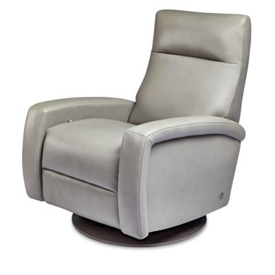 Demi Comfort Recliner with swivel base in light gray leather by American Leather at Creative Classics Furniture in Alexandria VA near Arlington VA and Washington DC
