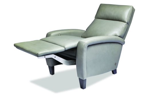 Reclining view of Dexter Comfort Recliner in light green leather by American Leather at Creative Classics Furniture in Alexandria VA near Arlington VA and Washington DC