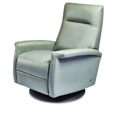 Fallon Swivel Comfort Recliner by American Leather in light green leather at Creative Classics Furniture in Alexandria VA near Washington DC and Arlington VA