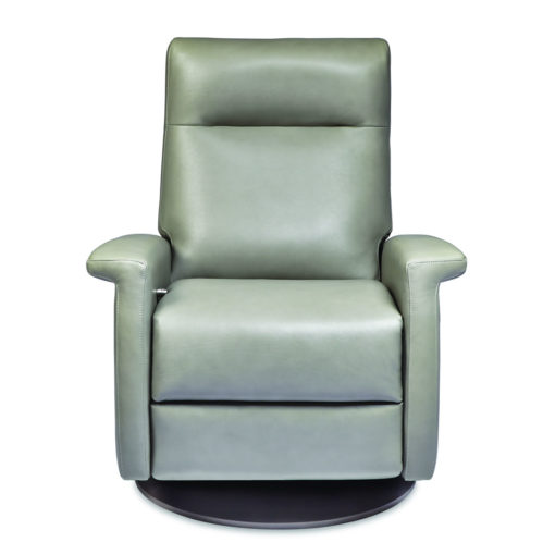 Front view of Fallon Swivel Comfort Recliner by American Leather in light green leather at Creative Classics Furniture in Alexandria VA near Washington DC and Arlington VA