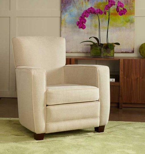 Living Room Scene with Ethan Club Chair in off white fabric by American Leather at Creative Classics Furniture in Alexandria VA near Arlington VA and Washington DC