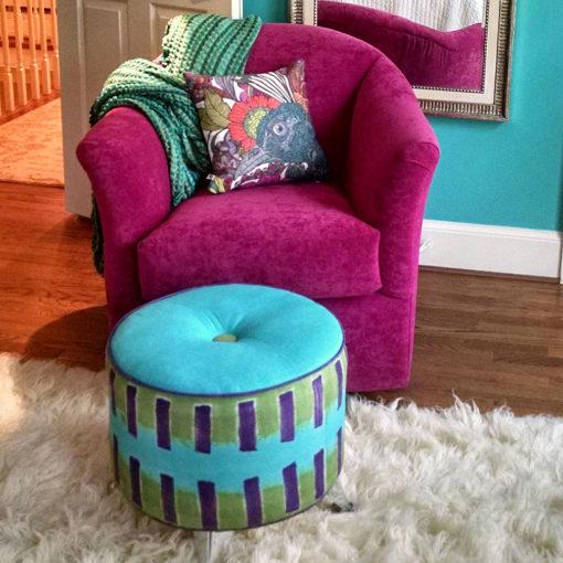 Living room scene of Riley 9306 Swivel Glider Chair in fuschia fabric by Precedent Furniture at Creative Classics Furniture in Alexandria VA near Arlington VA and Washington DC