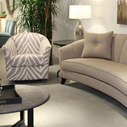 Living room scene of Riley 9306 Swivel Glider Chair in animal print fabric by Precedent Furniture at Creative Classics Furniture in Alexandria VA near Arlington VA and Washington DC