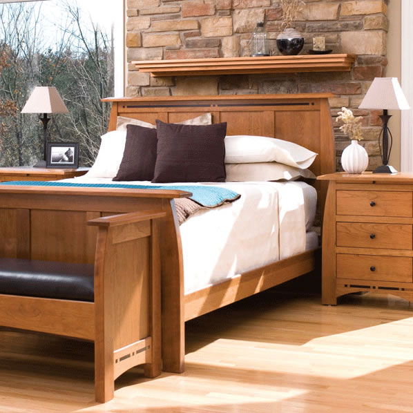 Bedroom scene of Solid Wood Aspen Bedroom set in medium cherry finish by Simply Amish Furniture at Creative Classics Furniture in Alexandria VA near Washington DC and Arlington VA