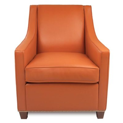 Front view of Bella Chair in orange leather by American Leather at Creative Classics Furniture in Alexandria VA near Washington DC and Arlington VA