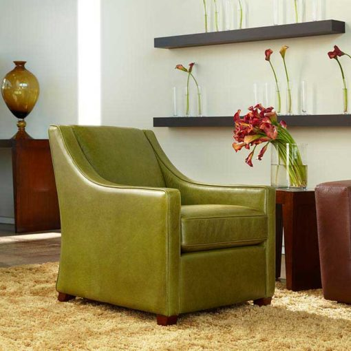 Bella Chair in olive green leather by American Leather at Creative Classics Furniture in Alexandria VA