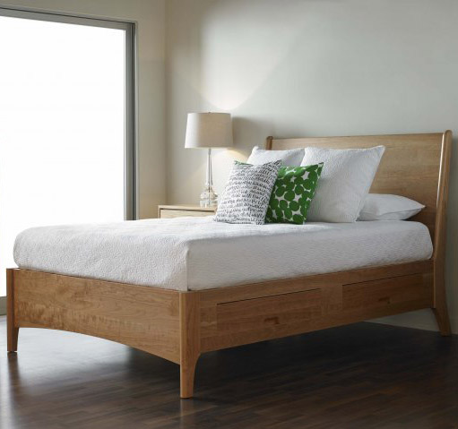 Bedroom scene with solid wood Brancusi Sleigh Storage Bed in natural cherry by Gat Creek Furniture at Creative Classics Furniture in Alexandria VA near Arlington VA and Washington DC