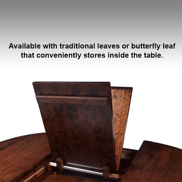 Brookfield Round Dining Table by Simply Amish View of Folding Leaf at Creative Classics Furniture in Alexandria VA near Arlington VA and Washington DC