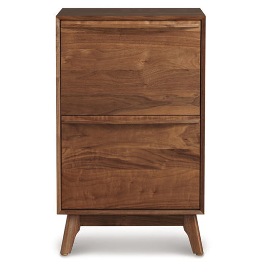 Front view of Solid wood Catalina narrow file cabinet in American black walnut by Copeland Furniture at Creative Classics Furniture in Alexandria VA near Northern VA and Washington DC