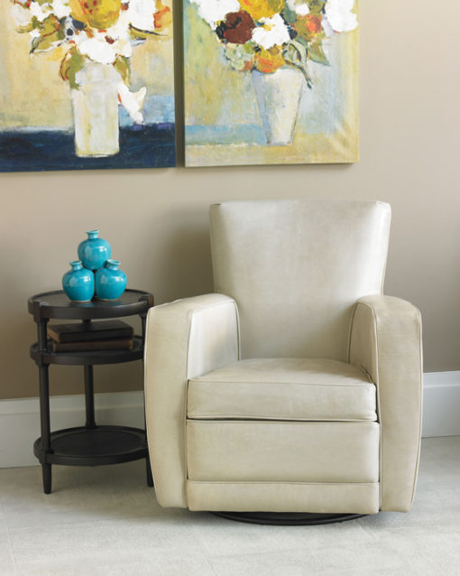 Living room scene with front view of Ethan Swivel Chair in cream Leather by American Leather at Creative Classics Furniture in Alexandria VA near Arlington VA and Washington DC