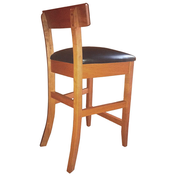 back view of solid wood Albany Small Scale Bar Stool with leather padded seat by Simply Amish Furniture at Creative Classics Furniture in Alexandria VA near Washington DC and Arlington VA