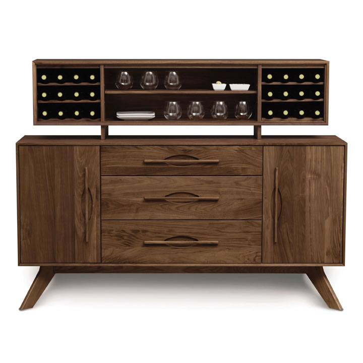 Solid Wood Audrey Buffet With Three Central Drawers And Hutch In Natural Walnut By Copeland Furniture