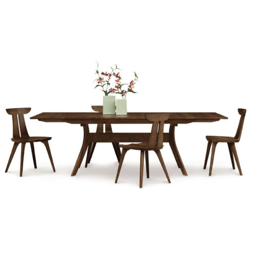 Dining room scene with Audrey Solid Wood Trestle Dining Table in natural walnut by Copeland Furniture at Creative Classics Furniture in Alexandria VA near Washington DC and Arlington VA