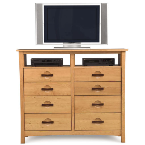 Front view of Solid Cherry Wood Berkeley Ten Drawer Dresser with TV Stand option by Copeland Furniture at Creative Classics Furniture in Alexandria VA near Washington DC and Arlington VA