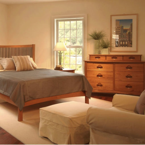 Bedroom scene of Solid Cherry Wood Berkeley Six Drawer Dresser and Bed without footboard by Copeland Furniture at Creative Classics Furniture in Alexandria VA near Washington DC and Arlington VA