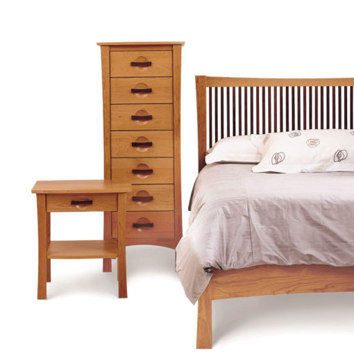 Solid Cherry Wood Berkeley Bed without footboard and Berkeley Lingerie Chest and Berkeley One Drawer Nightstand by Copeland Furniture at Creative Classics Furniture in Alexandria VA near Washington DC and Arlington VA