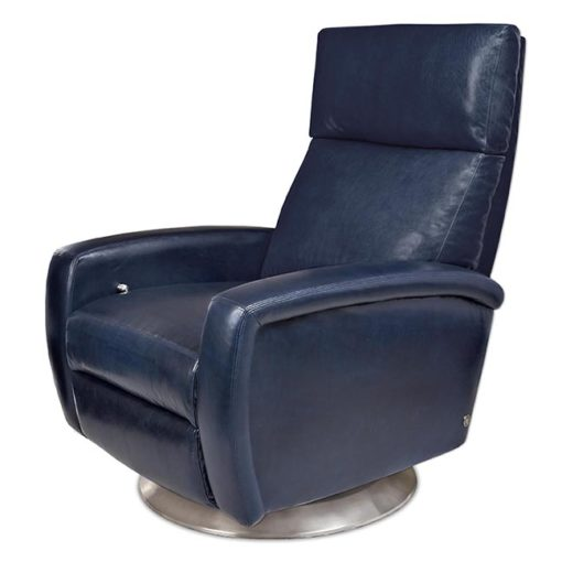 American Leather Dexter Swivel Comfort Recliner in dark blue leather at Creative Classics Furniture in Alexandria VA near Washington DC and Arlington VA