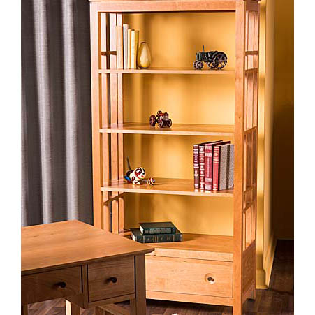 Living room scene with Solid wood Eastwood Etagere Bookcase in cherry finish by Gat Creek Furniture at Creative Classics Furniture in Alexandria VA near Washington DC and Arlington VA