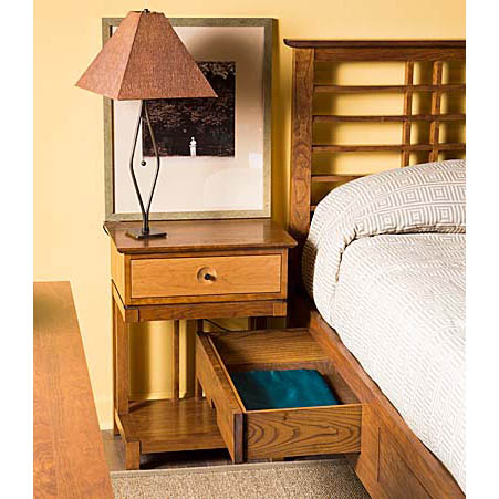 Bedroom scene with Solid wood Eastwood Storage nightstand in cherry finish by Gat Creek Furniture at Creative Classics Furniture in Alexandria VA near Arlington VA and Washington DC
