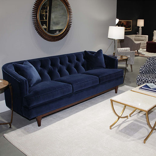 Living room scene of Emma Sofa in Two Sizes in dark blue fabric by Precedent Furniture at Creative Classics Furniture in Alexandria VA near Arlington VA and Washington DC