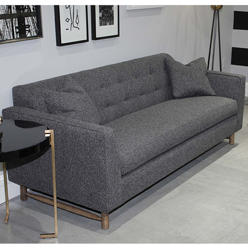 Living room scene of Keaton Sofa in three sizes with matching pillows in dark gray fabric by Precedent Furniture at Creative Classics Furniture in Alexandria VA near Arlington VA and Washington DC