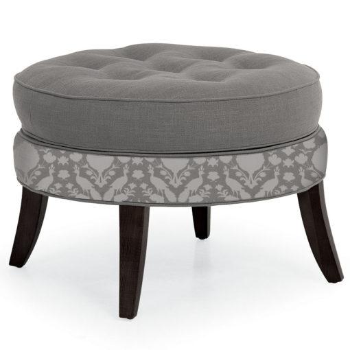 Lillian Round Ottoman in gray mixed fabric at Creative Classics Furniture in Alexandria VA near Arlington VA and Washington DC