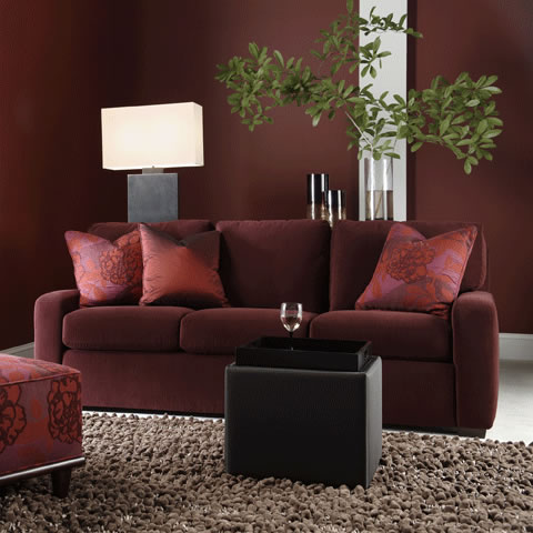 Living room scene of Carson Sofa in dark red fabric by American Leather at Creative Classics Furniture in Alexandria VA near Arlington VA and Washington DC