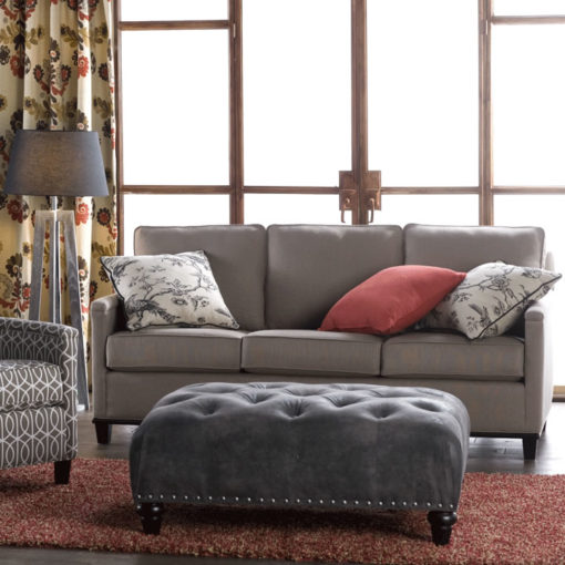 Living room scene of Gotham Sofa in taupe fabric by CR Laine Furniture at Creative Classics Furniture in Alexandria VA near Arlington VA and Washington DC