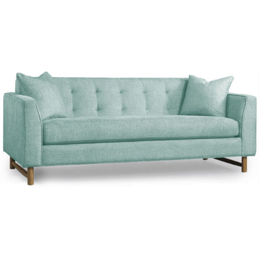 Keaton Sofa in three sizes with matching pillows in light aqua fabric by Precedent Furniture at Creative Classics Furniture in Alexandria VA near Arlington VA and Washington DC