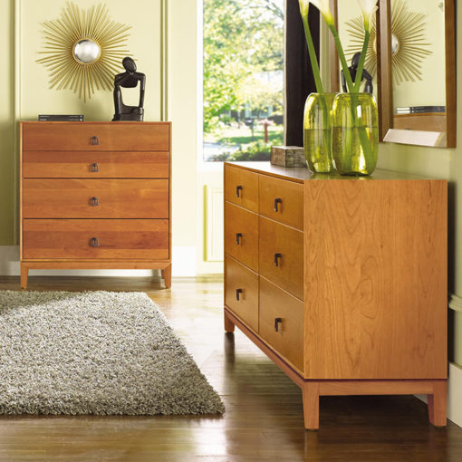 Bedroom scene of Solid wood Mansfield Six Drawer Dresser and Four Drawer Chest in Natural Cherry by Copeland Furniture at Creative Classics Furniture in Alexandria VA near Washington DC and Arlington VA