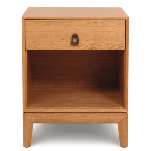 Front view of Solid wood Mansfield Single Drawer Nightstand in Natural Cherry by Copeland Furniture at Creative Classics Furniture in Alexandria VA near Washington DC and Arlington VA