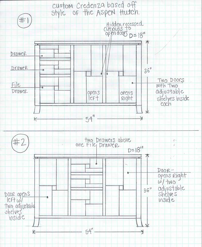 Sketch of Custom Design for Cherry Wood Dining Cabinet at Creative Classics Furniture in Alexandria, VA