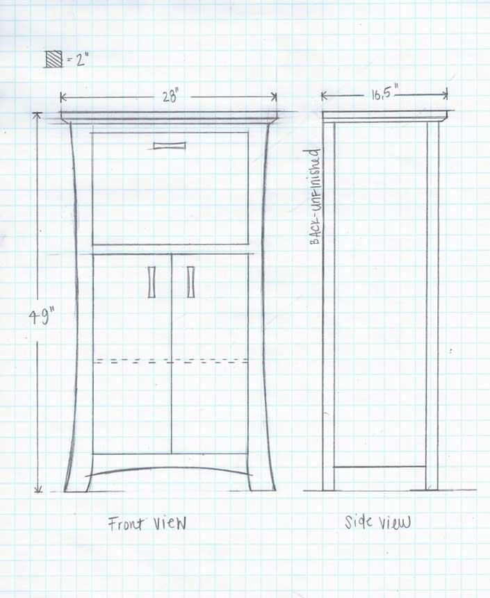 Sketch Cherry Wood Laptop Desk Customization For Creative Classics Furniture  In Alexandria, VA