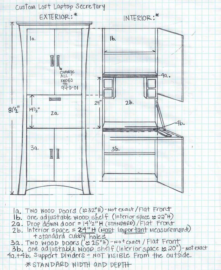 Sketch of Customization of Double Config Laptop Desk at Creative Classics Furniture in Alexandria, VA
