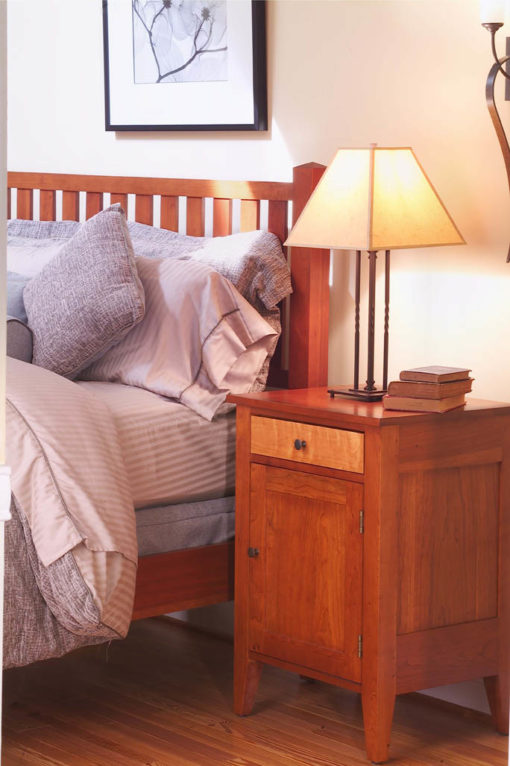 Bedroom scene of Vineyard II Nightstand with door by Gat Creek Furniture at Creative Classics in Alexandria VA near Arlington VA and Washington DC