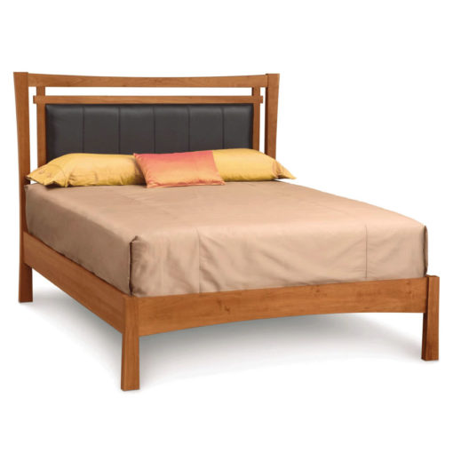 Solid wood Monterey Storage Bed with Leather Headboard in cherry by Copeland Furniture at Creative Classics in Alexandria VA near Arlington VA and Washington DC