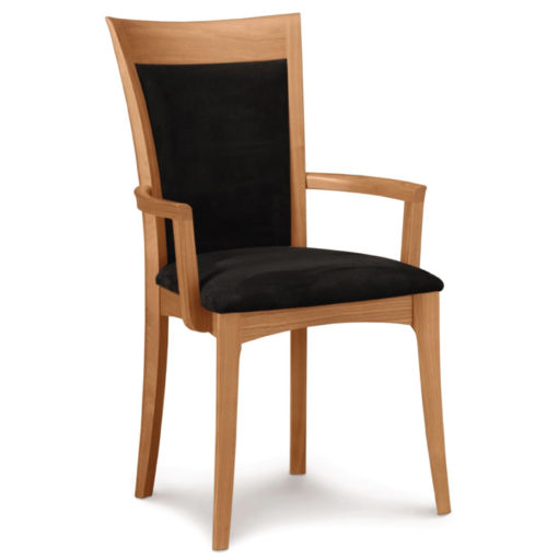 Morgan Dining Chair with Arms and upholstered seat in cherry wood by Copeland Furniture at Creative Classics Furniture in Alexandria VA