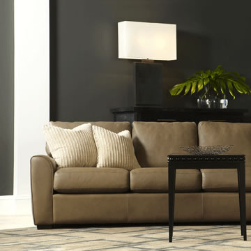 Living room scene with Kaden Sofa in leather by American Leather at Creative Classics Furniture in Alexandria VA near Washington DC and Arlington VA