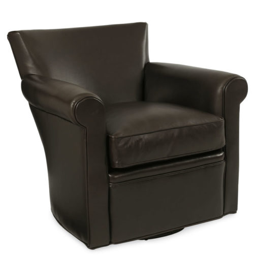 Front View of Philippe Swivel Chair in dark brown leather by CR Laine Furniture at Creative Classics Furniture in Alexandria VA near Washington DC and Arlington VA