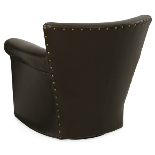 Back View of Philippe Swivel Chair in dark brown leather with decorative nailheads by CR Laine Furniture at Creative Classics Furniture in Alexandria VA near Washington DC and Arlington VA